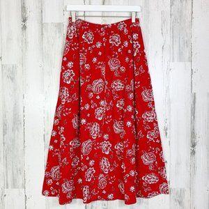 Vintage 90s Red Floral Cotton A-Line Midi Skirt